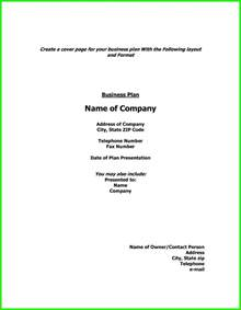 9  show an example of a cover page of a business plan