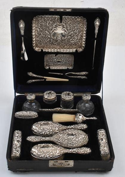 Silver Vanity Table Set by Antique Dressing Table Sets N 233 Cessaires Travel Cases For