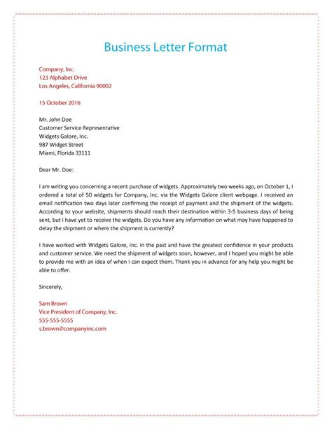 business letter format with subject line http