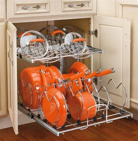 kitchen cabinet organizers for pots and pans rev a shelf two tier cookware organizer eclectic pantry and cabinet organizers by home