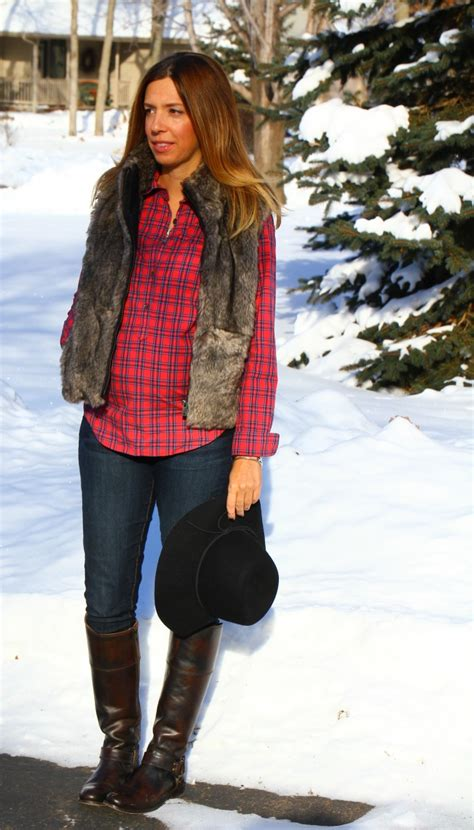 Cheap Hair Stylist Vest by Plaid Faux Fur In The