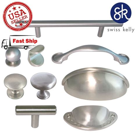 kitchen cabinets handles or knobs brushed satin nickel kitchen hardware cabinet drawer handles cup pulls knobs ebay