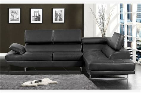 contemporary black leather sectional sofa adjustable