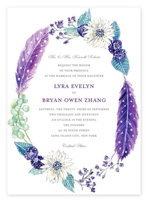 Purple Wedding Invitation Paper by Top 10 Boho Wedding Invitations Pretty Florals Feathers