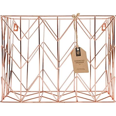 U Brands Hanging File Desk Organizer Wire Metal Copper