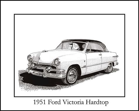 Cool Duvet Cover 1951 Ford Victoria Hardtop Drawing By Jack Pumphrey