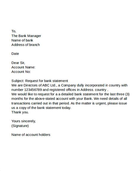 Letter For Bank Statement Through Email 45 Request Letter Template Free Premium Templates