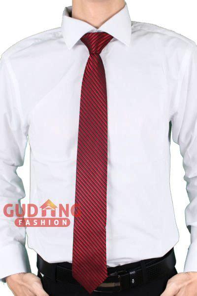 Dasi Formal Pria Motif Garis dasi kerja kantoran pria motif salur satin merah tie 400 gudang fashion