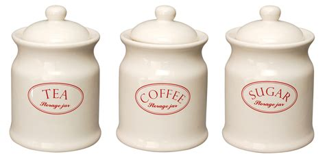 Red Kitchen Canisters Sets by Ascot Cream Ceramic Tea Coffee Sugar Kitchen Storage Jars