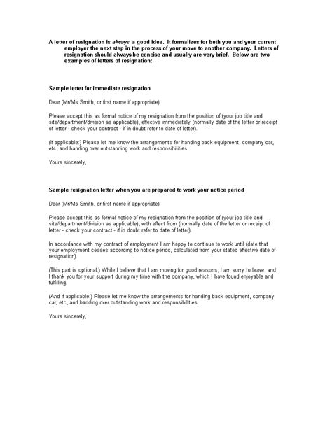 official employment resignation letter templates