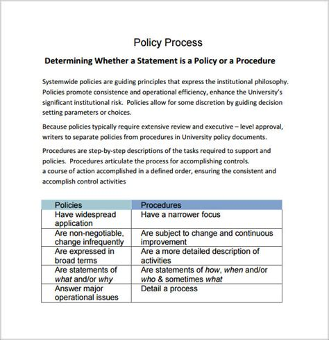 6 policy and procedure templates pdf doc sle templates