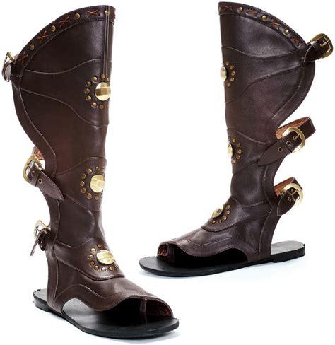 mens gladiator boots knee high shin guard buckle flat gladiator