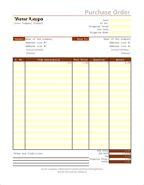 Free Excel Purchase Order Template by 6 Excel Purchase Order Template Teknoswitch
