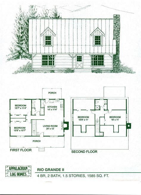One Story House Plans by Log Home Package Kits Log Cabin Kits Rio Grande Ii Model