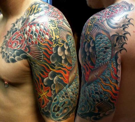 koi tattoo on shoulder shoulder chest japanese carp koi tattoo by lone star tattoo