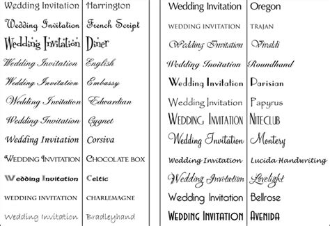 Popular Wedding Invitation Fonts