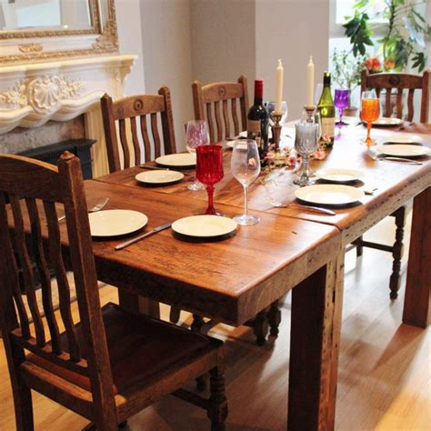 farmhouse extendable reclaimed wood dining table rustic