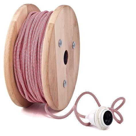 zig zag cable pattern red white zig zag color fabric lighting flex round cable