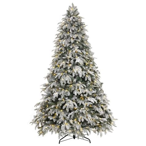 home depot alexandria pine tree home accents 7 5 ft pre lit led flocked mixed pine tree with 500 warm white lights