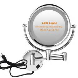 wall mounted lighted magnifying bathroom mirror wall mounted extending 7x magnifying bathroom