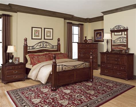 clasic bedroom rich cherry classic bedroom w scrolling metal decorative details
