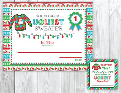 printable ugly christmas sweater awards ugly sweater christmas party voting cards awards tacky