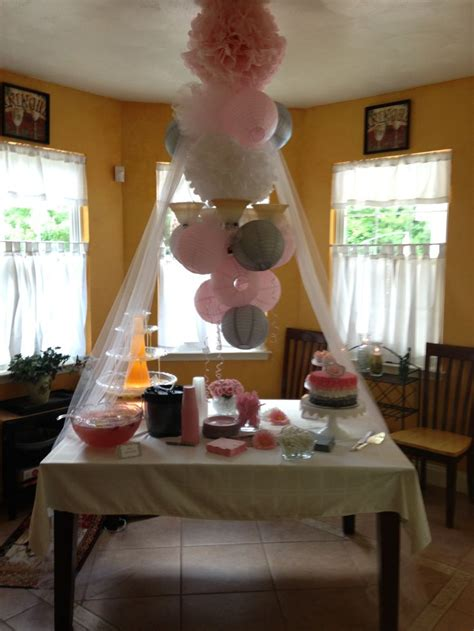 gray and pink baby shower decorations baby shower