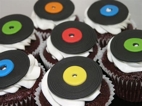 colorful beats colorful sweet beats for eats vinylrecord cupcakes