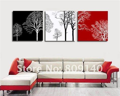 red and black home decor free shipping decoration oil painting canvas abstract tree black white red theme high quality