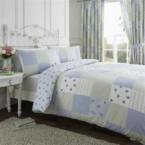 Blue Patchwork Duvet Cover - blue green reversible patchwork duvet cover set tonys