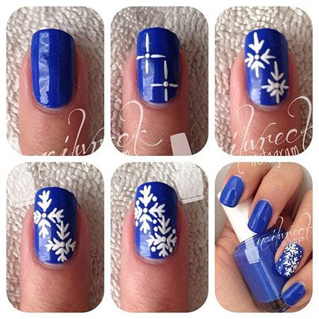 snowflake pattern on nails 10 easy simple winter nails art tutorials for beginners