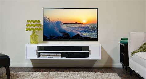 wall tv modern white stained wooden floating tv stand combined