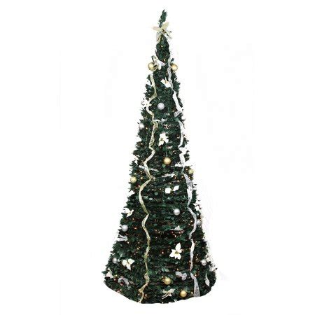 qvc pop up pre lite decorated christmas tree 9 pre lit pop up decorated silver gold artificial tree clear lights walmart