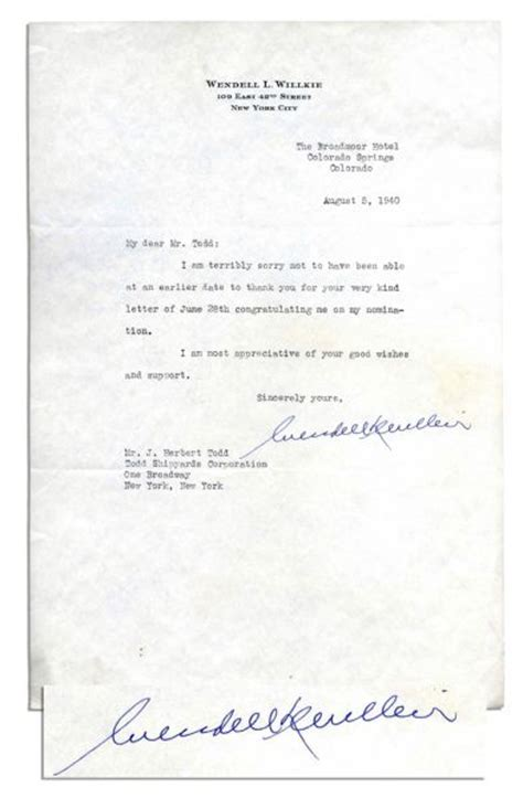 thank you letter to for congratulating me lot detail wendell l willkie 1940 typed letter signed