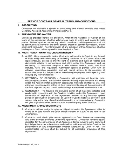 contract terms and conditions template service contract general terms and conditions free