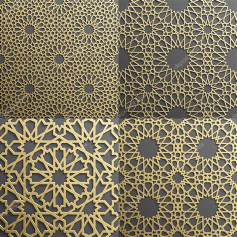 islamic web pattern islamic pattern set of 4 ornaments seamless arabic