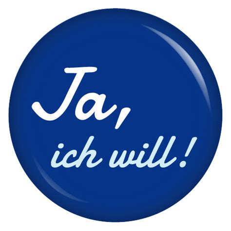 Ja Ich Will by Kiwikatze Button Ja Ich Will Blau