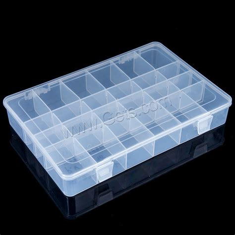 plastic bead container rectangle transparent 24 cells 345x218x48mm gets