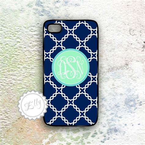 Iphone 4 4s Huf Bape Blue Pattern Hardcase mint monogram iphone 4 4s navy blue and mint damask