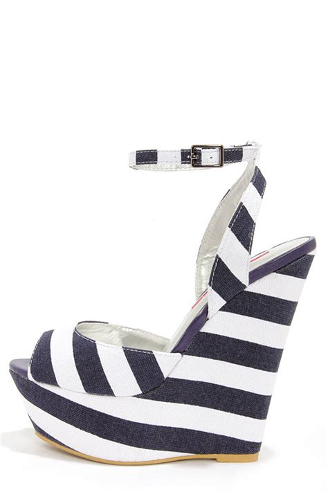 Erotokritos Blue And White Stripe Wedge striped shoes platform wedges striped wedges 49 00