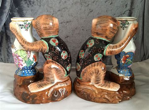 Character Holder Monkey awesome pair vintage hua ping tang zhi hua ping