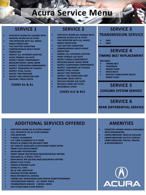 automotive service menu acura of columbus