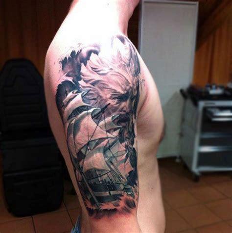 badass tattoo sleeves sailboat mens badass half sleeve