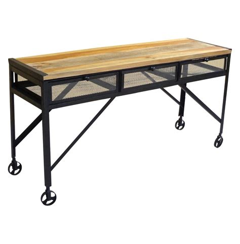 industrial sofa table with wheels tribeca industrial mesh drawer caster wheel desk console table