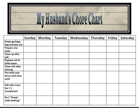 Chore Charts For Multiple Children Classified Mom Wordless Wednesday Husband S Chore Chart Couples Chore Chart Template