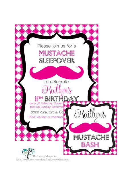 mustache sleepover birthday bash printable party invitation