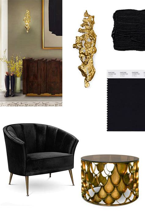 Gold Curtains Living Room Inspiration Black Gold Mood Board For A Stylish Living Room Inspiration Ideas Brabbu Design Forces