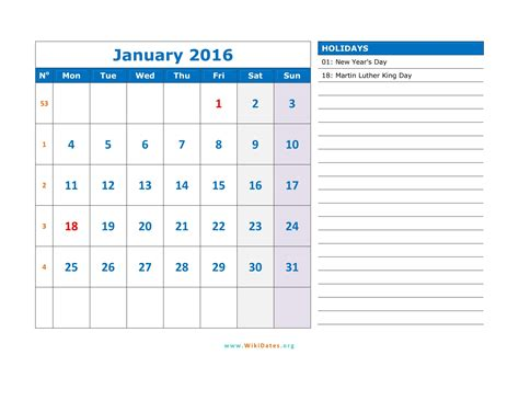 Calendar For January 2016 January 2016 Calendar Wikidates Org