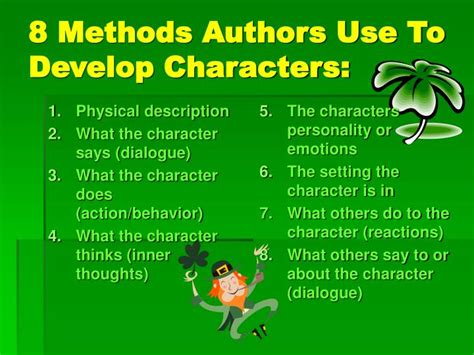8 Characters That Id To Be by Ppt 8 Methods Authors Use To Develop Characters