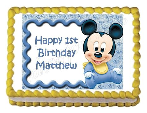 baby mickey mouse baby shower  birthday party edible cake image topper sheet  ebay